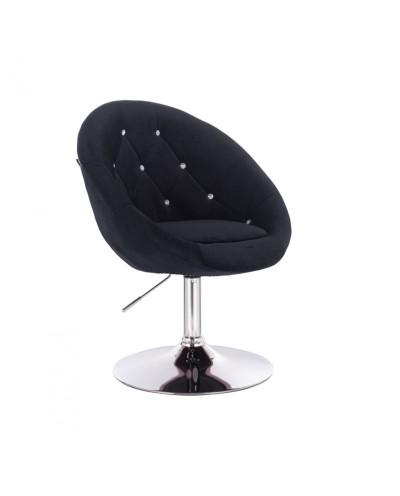 Fotel okrągły czarny BLOM CRISTAL - chromowany dysk