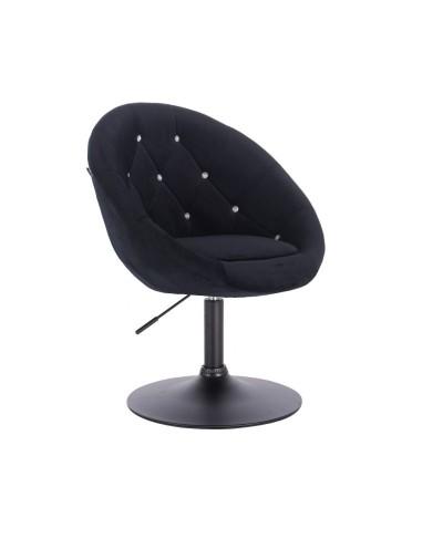 Czarny fotel welur BLOM CRISTAL - czarny dysk
