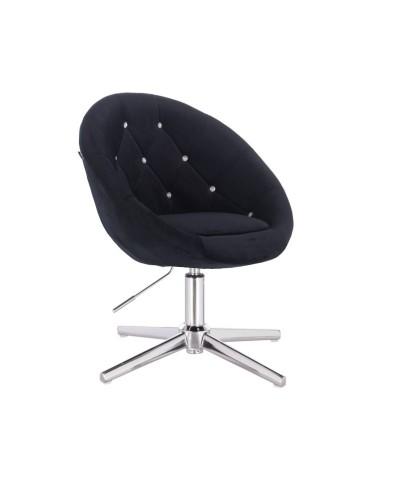 Fotel pikowany BLOM CRISTAL czarny - krzyżak chromowany