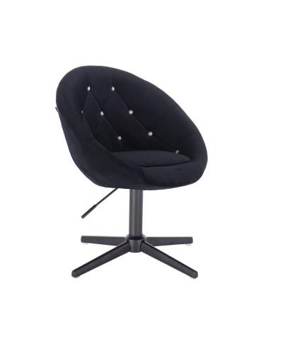Czarny fotel z kryształkami BLOM CRISTAL - czarny krzyżak