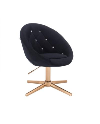 Fotel z kryształkami BLOM CRISTAL czarny - złoty krzyżak
