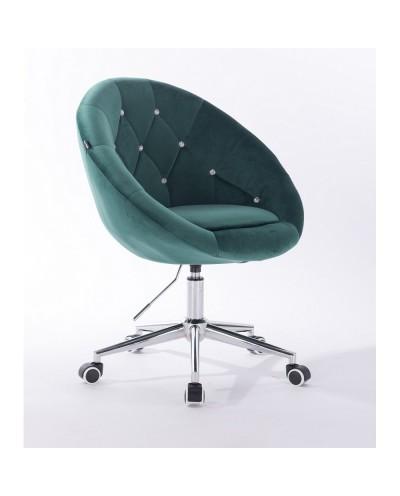 Krzesło pikowane BLOM CRISTAL butelkowa zieleń - chromowana podstawa kółka