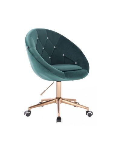 Krzesło welur BLOM CRISTAL butelkowa zieleń - złota podstawa kółka