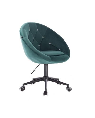 BLOM CRISTAL Krzesło materiał welurowy butelkowa zieleń - kółka czarne