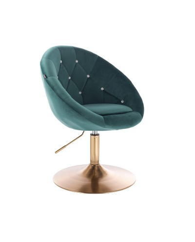 Fotel wypoczynkowy BLOM CRISTAL butelkowa zieleń - złoty dysk