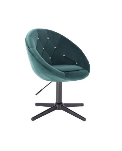 Fotel z kryształkami BLOM CRISTAL butelkowa zieleń - czarny krzyżak