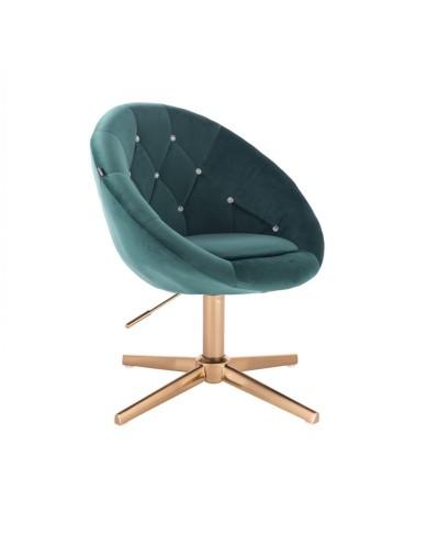 BLOM CRISTAL Fotel butelkowa zieleń - złoty krzyżak