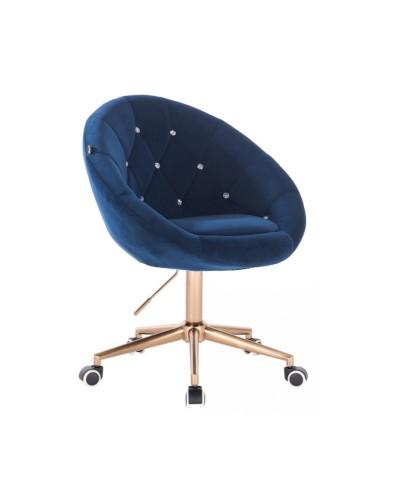 Krzesło welur BLOM CRISTAL ciemne morze - złota podstawa kółka
