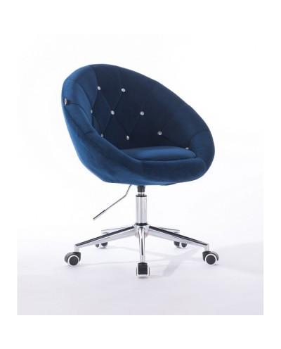 Krzesło pikowane BLOM CRISTAL ciemne morze - chromowana podstawa kółka