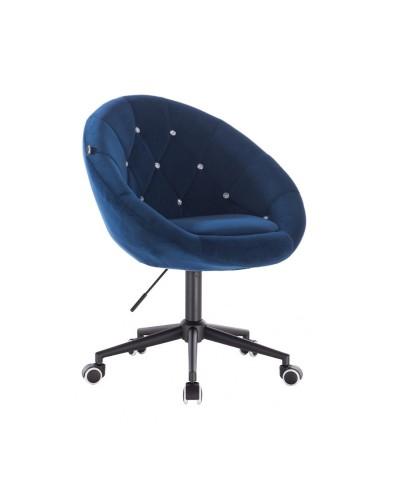 BLOM CRISTAL Krzesło materiał welurowy ciemne morze - kółka czarne
