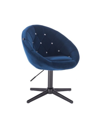 Fotel z kryształkami BLOM CRISTAL ciemne morze - czarny krzyżak