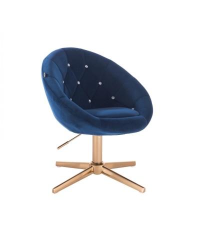 BLOM CRISTAL Fotel ciemne morze - złoty krzyżak