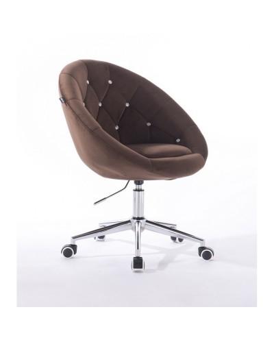 Krzesło pikowane BLOM CRISTAL czekoladowe - chromowana podstawa kółka