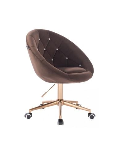 Krzesło welur BLOM CRISTAL czekoladowe - złota podstawa kółka