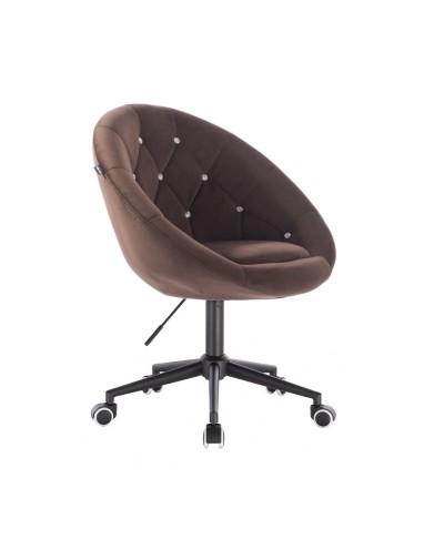 BLOM CRISTAL Krzesło materiał welurowy czekoladowe - kółka czarne