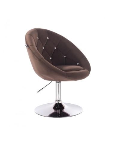 Fotel okrągły BLOM CRISTAL czekoladowy - chromowany dysk