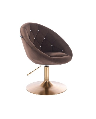 Fotel wypoczynkowy BLOM CRISTAL czekoladowy - złoty dysk