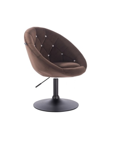Fotel welur czekoladowy BLOM CRISTAL - czarny dysk