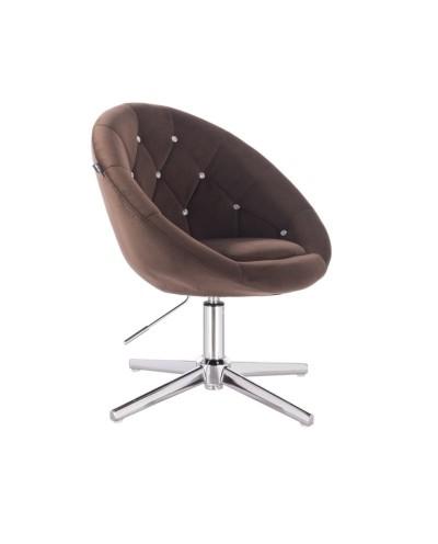 Fotel pikowany BLOM CRISTAL czekoladowy - krzyżak chromowany