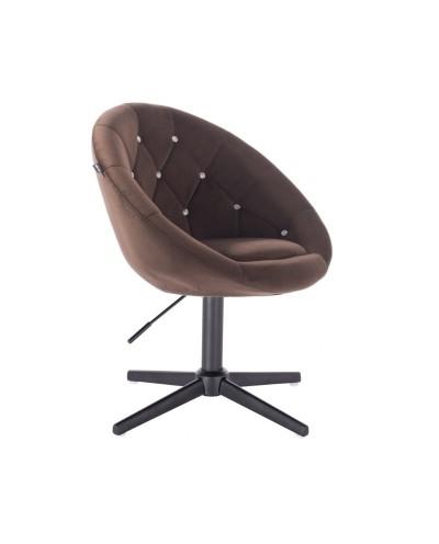 Fotel z kryształkami BLOM CRISTAL czekoladowy - czarny krzyżak