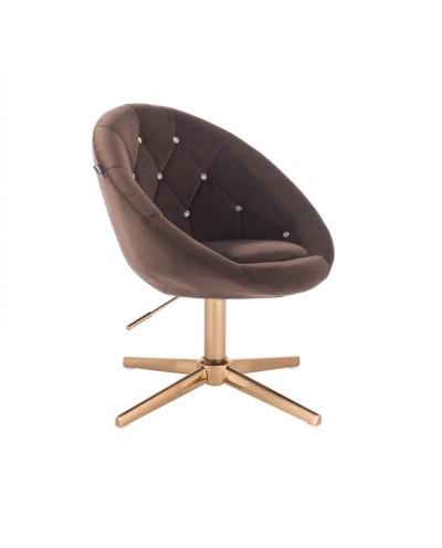 BLOM CRISTAL Fotel półokrągły czekoladowy - złoty krzyżak
