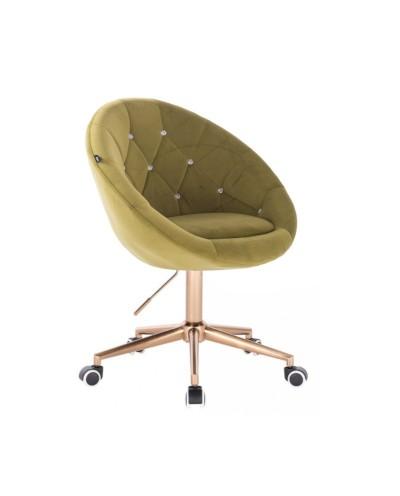 Tapicerowane krzesło oliwkowe BLOM CRISTAL - złota podstawa kółka
