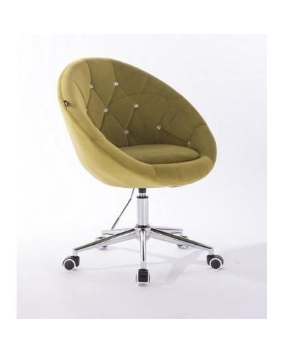 Krzesło pikowane BLOM CRISTAL oliwkowe - chromowana podstawa kółka