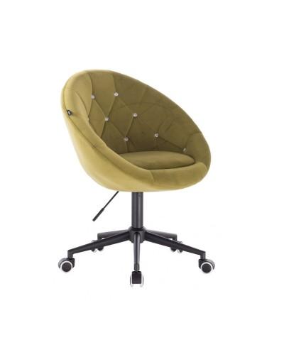 BLOM CRISTAL Krzesło materiał welurowy oliwkowe - kółka czarne