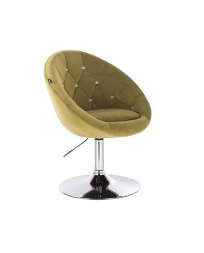 Fotel półokrągły BLOM CRISTAL oliwkowy - chromowany dysk