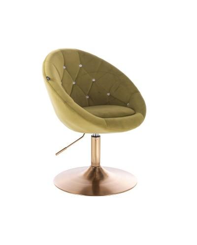 Fotel wypoczynkowy BLOM CRISTAL oliwkowy - złoty dysk