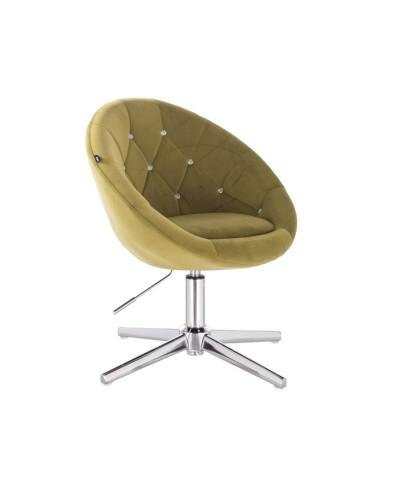 Fotel pikowany BLOM CRISTAL oliwkowy - krzyżak chromowany