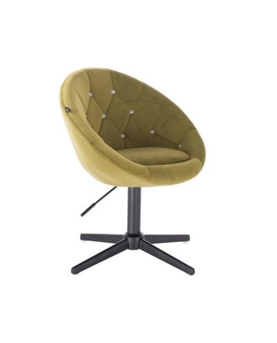 Oliwkowy fotel z kryształkami BLOM CRISTAL - czarny krzyżak