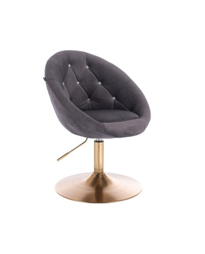 Fotel wypoczynkowy BLOM CRISTAL grafitowy - złoty dysk