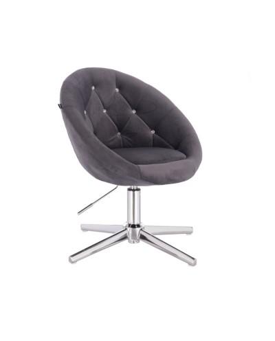 Fotel pikowany BLOM CRISTAL grafitowy - krzyżak chromowany
