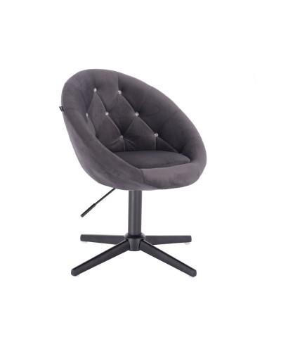 Grafitowy fotel z kryształkami BLOM CRISTAL - czarny krzyżak