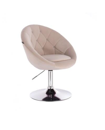 Fotel półokrągły BLOM CRISTAL kremowy - chromowany dysk