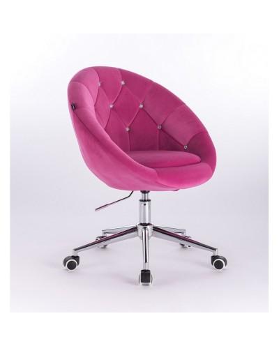 Krzesło pikowane BLOM CRISTAL malinowe - chromowana podstawa kółka