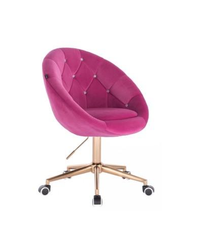 Tapicerowane krzesło BLOM CRISTAL malinowe - złota podstawa kółka