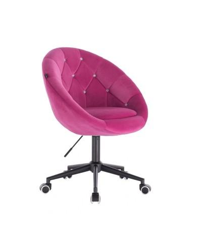 BLOM CRISTAL Krzesło materiał welurowy malinowe - kółka czarne