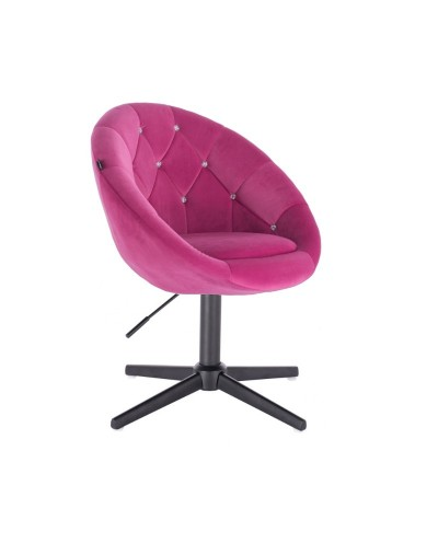 Fotel z kryształkami BLOM CRISTAL malinowy - czarny krzyżak