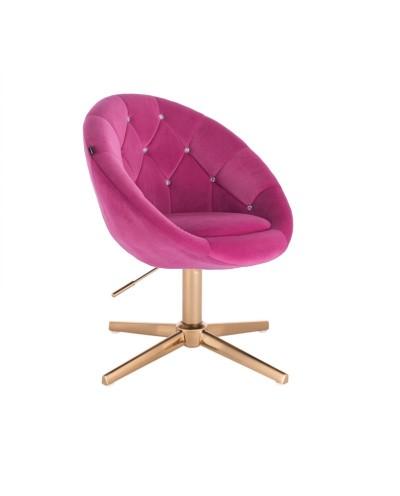 Fotel obrotowy BLOM CRISTAL malinowy - złoty krzyżak