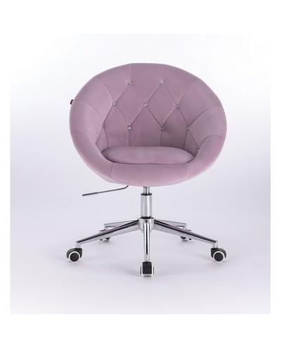 Krzesło pikowane BLOM CRISTAL welur wrzos - chromowana podstawa kółka
