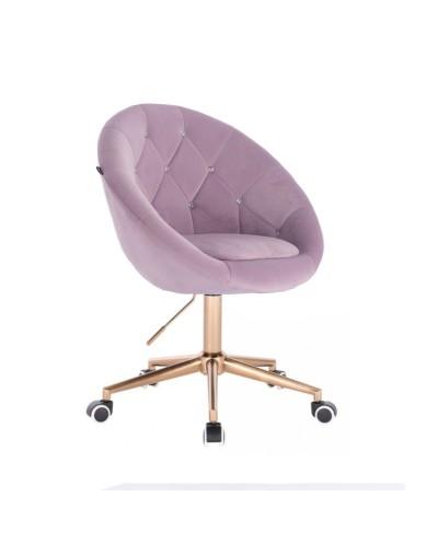 Tapicerowane krzesło BLOM CRISTAL wrzosowe - złota podstawa kółka
