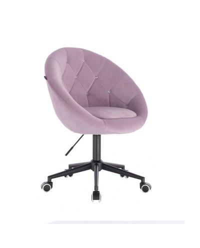 BLOM CRISTAL Krzesło materiał welurowy wrzosowe - kółka czarne