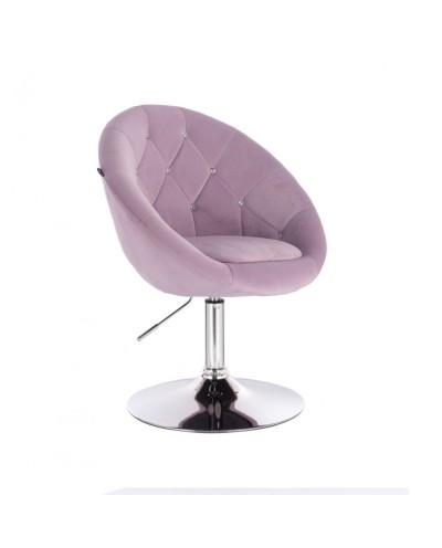 Fotel półokrągły BLOM CRISTAL do makijażu wrzosowy - chromowany dysk