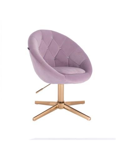 Fotel obrotowy do makijażu BLOM CRISTAL wrzosowy - złoty krzyżak