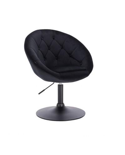 Czarny obrotowy fotel welur BLOM guziki - czarny dysk