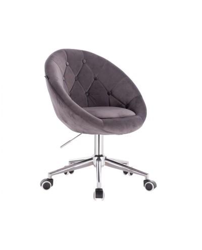 Szare krzesło na kółkach BLOM - chromowana podstawa kółka