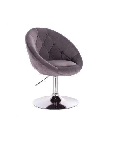 Szary fotel półokrągły BLOM welur - chromowany dysk