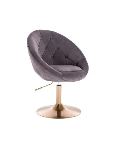Fotel szary wypoczynkowy BLOM pikowany welur - złoty dysk